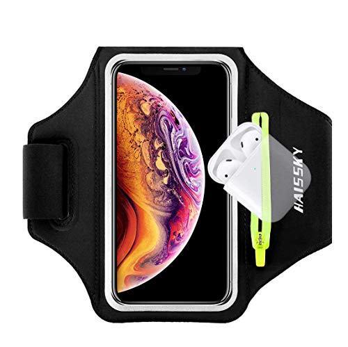 """Fascia da Braccio Sportiva Running Armband per iPhone 11/11 Pro/XR/XS/8/7/6s, Samsung Galaxy A 50s/A 30s/S10/S10 +/S9/S9 +/S8/S7, fino a 6,5"""", Touch ID, Bracciale sportivo con supporto per Airpods"""