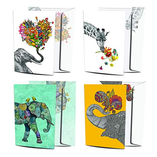Tree-Free Greetings 8 Pack Greeting Cards, 100% Recycled Paper, Eco-Friendly Cards, Made in the USA, Variety Pack with Matching Envelopes, 5�x7� in Artful Designs