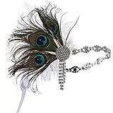 ArtiDeco Headband Gatsby, Bandeau Cristal 1920s Bandeau Plume Gatsby Flapper Accessoires Charleston Bandeau Année 20 Vintage Partie à Thème