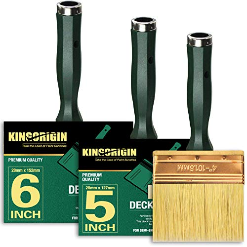 3 Piece(4inch,5inch,6inch) Deck Stain Brush by Kingorigin Block Brush, Paint Brush Heavy Duty Professional Stain Brush,Double Thick 1.2 inch,Fence Brush,Paint Brush for Walls