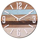 NIKKY HOME Stripe Reloj de Pared Decorativo Redondo de Madera de Madera, Burlywood