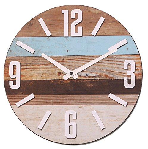 NIKKY HOME Orologio da Parete Rotondo in Legno a Strisce 30 cm per Arredo Casa al Mare