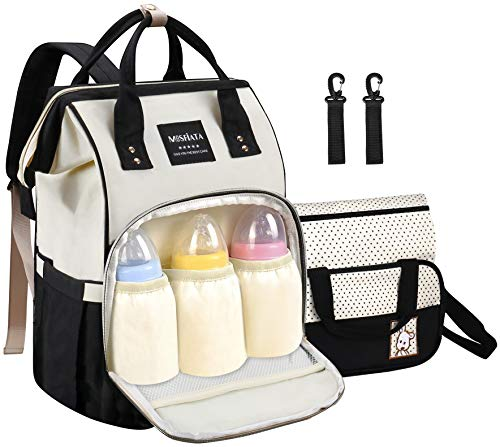 MOSFiATA Baby Diaper Bag Backpack - Stylish Multifunction Waterproof Travel Backpack for Mom and Dad, Maternity Baby Diaper Changing Bag with Stroller Straps