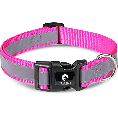 Taglory Reflective Adjustable Dog Collar, Quick Release Buckle, Pet Training Collars for Small Dogs, Hotpink