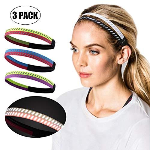 Diadema de yoga Diadema elástica, 3 piezas Diademas deportivas atléticas para mujeres y niñas jóvenes Deportes reflectantes Entrenamiento Bandas para el cabello Bandas elásticas para la cabeza