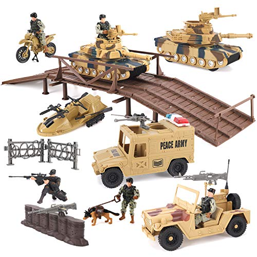 Military Toys Army Action Combat Zone - 42 Piece Huge Playset with Large Tanks, Boat, Motorcycle, Trucks, Soldier Figures and Accessories