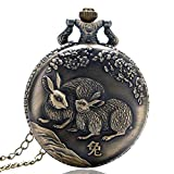 Reloj de Bolsillo Vintage, Retro China Zodiac Conejo Lindo Cazador Completo Reloj de Bolsillo para Hombre, Redondo de Cuarzo Reloj de Bolsillo Regalo