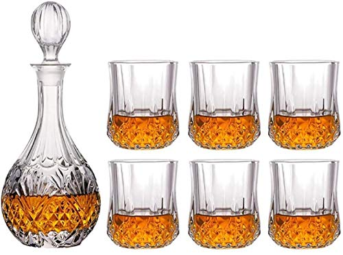Whiskey glassPremium Whiskey Carafe Set Unleaded 4 Complex Glasses Set 100% Transparent Lead-Free Crystal Glass bar for Whisky Scotch Whisky Bourbon Whisky Rum in Gift Boxes-05 SkyMdns