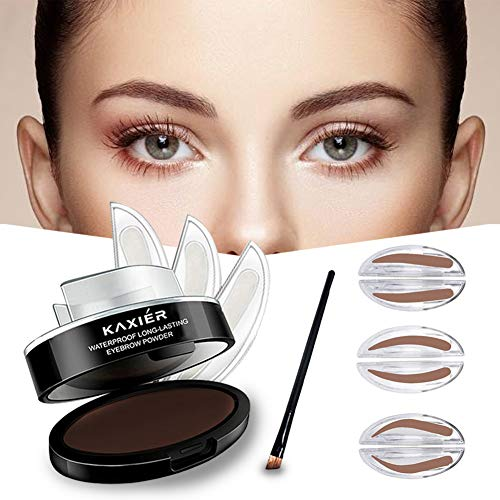 GL-Turelifes 3 Pairs of Seals Eyebrow Stamp with Brow Brush Perfect Eye Brow Power One Second Make Up Nature Brow(Dark Brown)