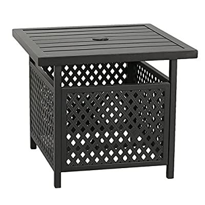 Patio Tree Outdoor Umbrella Side Table Stand Patio Bistro Table with Umbrella Hole