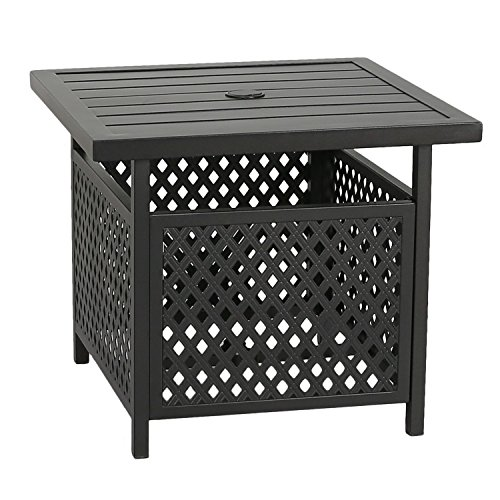 Outdoor Umbrella Side Table Stand Patio Bistro Table with Umbrella Hole