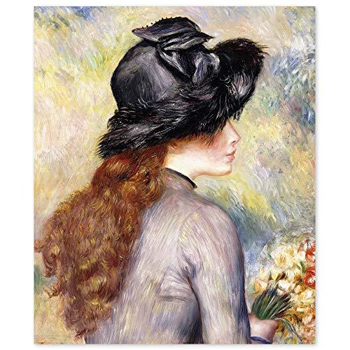 JUNIWORDS Poster, Pierre Auguste Renoir, Junges Mädchen mit einem Blumenstrauß aus Tulpen, Jeune fille au bouquet de tulipes, 30 x 36 cm