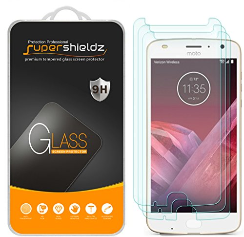 (3 Pack) Supershieldz for Motorola (Moto Z2 Play) Tempered Glass Screen Protector, 0.33mm, Anti Scratch