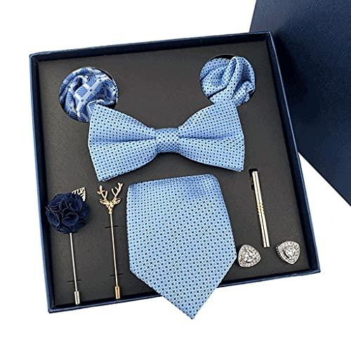GFDFD New Mens Corbatas Regalos Cajas Tie de Boda Bowtie Pocket Towel Broche Gemelos Conjunto de 8 Piezas Regalo para Padre y Marido (Color : A)
