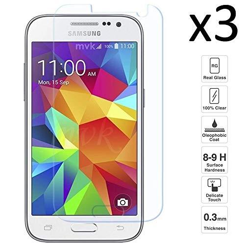 iGlobalmarket [3 Unidades Protector de Pantalla Samsung Galaxy Core Prime G360, Vidrio Templado, sin Burbujas, Alta Definicion, 9H Dureza, Resistente a Arañazos