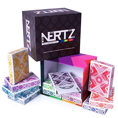 Brybelly Nertz: The Fast Frenzied Fun Card Game  12 Decks of Playing Cards in 12 Vibrant Colors Bulk Set of Poker WideSize/Regular Index PlasticCoated Cards