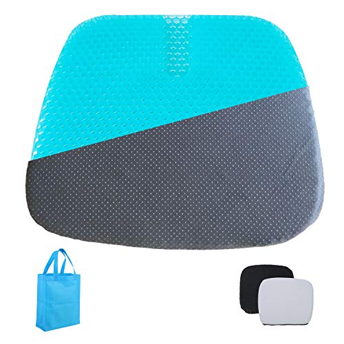 Extra-Large Gel Seat Cushion, Home/Office Chair /Wheelchair/Car Seat Cushion, Double- Layer Honeycomb Design Gel Cushion, High Breathability &...