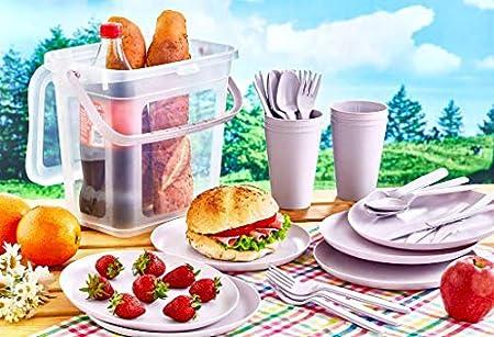 Violett Gr/ün Rosa Furany Camping Picknick Geschirr-Set f/ür 6 Personen in Gelb