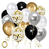 Black Gold Silver party Balloons, 50pcs 12 Inch Metallic Thicker Latex Confetti Balloons with Ribbon for Wedding Birthday Baby Shower Decorations
