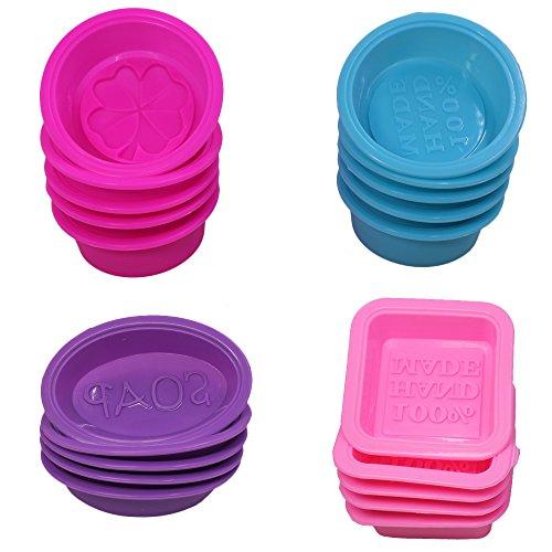 20 pezzi stampi per sapone in silicone, forma quadrata rotonda ovale, FineGood morbido cupcake muffin teglia per fai da te artigianale fatto in casa, commestibile - rosa, blu, rosa rossa, viola
