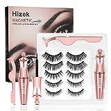 Magnetic Eyelashes With Eyeliner Kit, Hizek Upgraded 3D Magnetic Eyelashes Kit With 5 Pairs Reusable False Eyelashes Natural, Tweezers and Eyeliner - No Glue Needed…