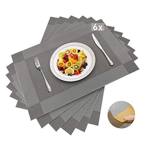 Dusor Tischset Abwaschbar, Platzset Abwischbar 6er Set, rutschfest Platzdeckchen, Hitzebeständig Abgrifffeste Tischset, für Zuhause Restaurant Küche Speisetisch, 30cm x 45cm, Silber