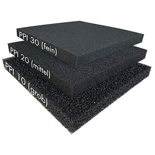 Pondlife Filterschaum schwarz 50x50x5 cm zur optimalen Verwendung als Filtermedium in Teichfiltern PPI PPI20 (mittel)
