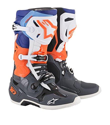 Alpinestars 2010019-9047-11 Unisex-Erwachsene Tech 10 Stiefel, Grau/Orange/Blau, Größe 45 (Mehrfarbig, One