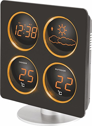 Technoline WS 6830 Wetterstation mit Wetterdendenz, Temperaturanzeigen, 2 Weckalarmen und Schlummerfunktion, LED-Anzeige, inklusive mit Außensender TX 96-TW004, warmes orange, Gehäuse schwarz