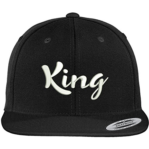 Trendy Apparel Shop King Script Embroidered Flat Bill Snapback Baseball Cap - Black