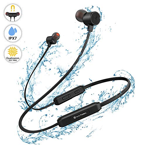 Bluetooth Kopfhörer Sport in-Ear YATWIN - IPX7 Wasserdicht/In Ear Ohrhörer, Kabellos Magnetisches und Nackenbügel Bluetooth 5,0 Sportkopfhörer mit 12 Std Laufzeit HiFi Sound für Joggen/Laufen