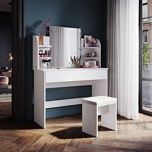 SONNI Schminktisch mit Spiegel und Hocker Schminkkommode weiß Kommode mit Schubladen groß 1080x400x1400mm