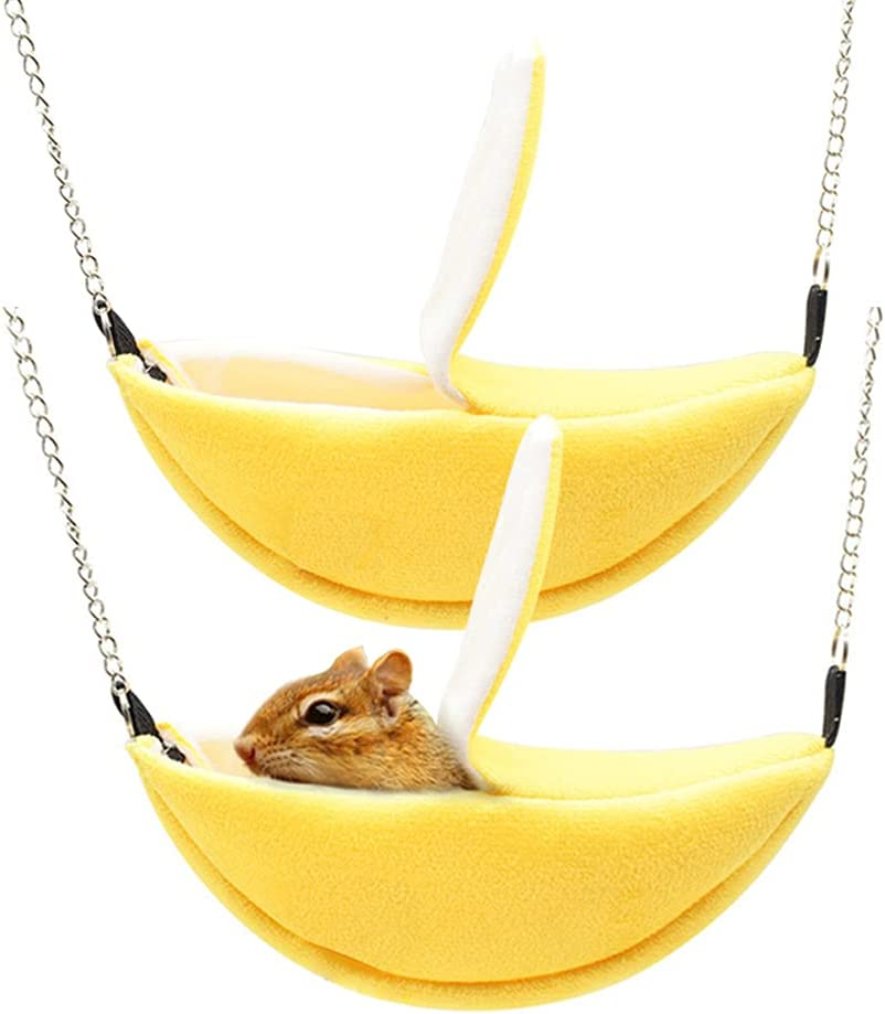 2 Packs Indefinitely of Banana Hamster YellowHamster Cage Bed Online limited product Hammock for