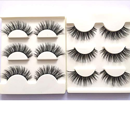 Imported Fiber 3D False Eye lashes Handmade Reusable Long Cross Makeup Natural 3D Fake Thick Black EyeLashes 6 Pairs(3D-01)