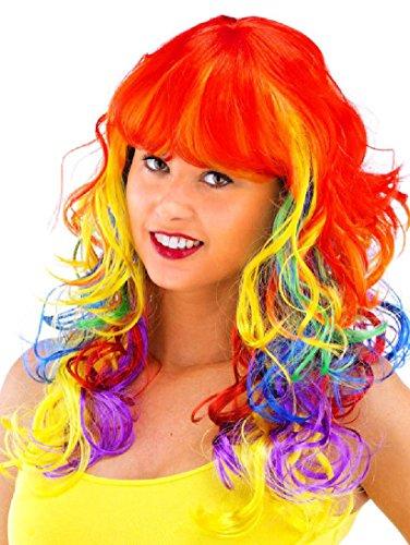 Folat 26708 – Perruque avec Long Cheveux et Ponny Arc-en-Ciel Multicolore