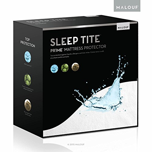 SLEEP TITE Hypoallergenic 100% Waterproof Mattress Protector - 15-Year U.S. Warranty - Vinyl...