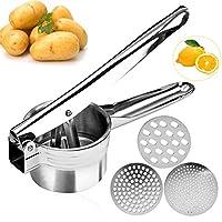 McNory Schiacciapatate,Potato Ricer in Acciaio Inox-con 3 Dischi intercambiabili Pressa per Purè di Patate Liscie,Marmellata,Verdure E Frutta