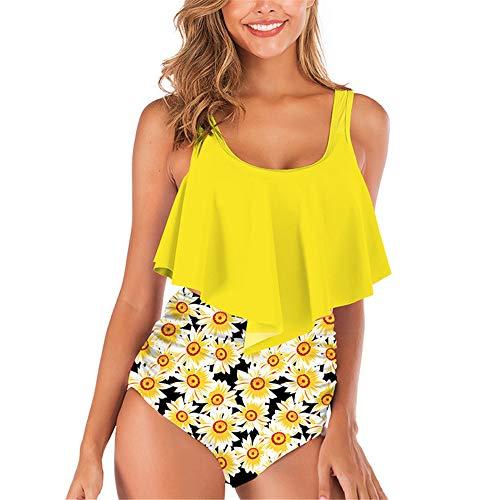 ZHUQI Damen elegant sexy Strand Badeanzug zweiteiligen Anzug Sommer dünne Schlinge Rüsche Strand Stil sexy Mode Badebekleidung und High Waist Drucken Shorts S