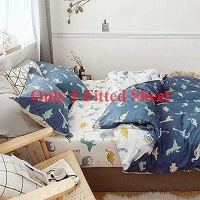 AMWAN 100% Cotton Soft Fitted Sheet Modern Printed Kids Bedding Sheet for Boys Girls Teens Adults, Deep Pocket Bed Sheet
