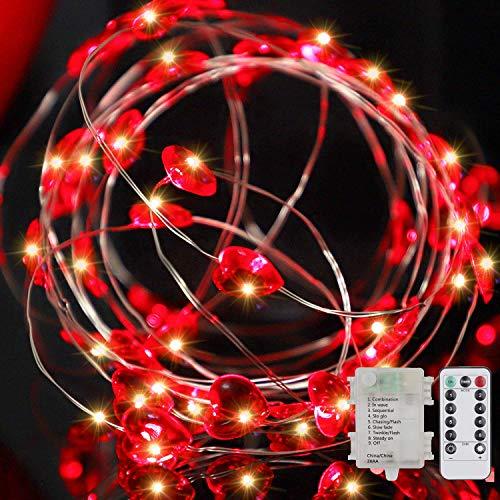 Seamuing LED Herz Led Lichterketten, 16Ft 50 Herzform Lichterketten, 8 Modi Romantische dekorative Beleuchtung mit Fernbedienung für Valentinstag Schlafzimmer Kindergarten Party Zaun Pflanzen Dekor