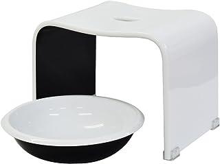 クーアイ(Kuai) アクリル バスチェア&ボウルセット 風呂椅子 洗面器 セット Mサイズ 高さ25cm ツートン(ホワイト×ブラック))