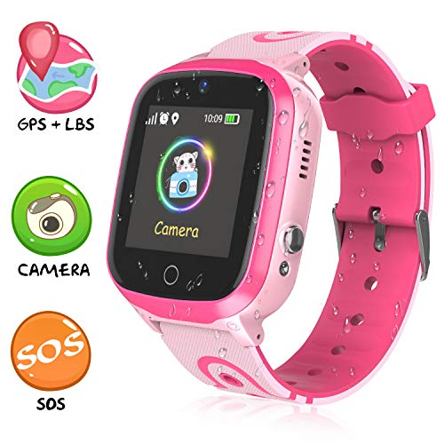 Kids Smart Watches - GPS/LBS Waterproof Smartwatch HD Touch Screen SOS Call Camera Games Alarm Clock Anti Lost Smartwatches with Games for Children Students Learning 4-12 Years Old