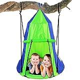 Kids Hanging Chair Tent Swing - Hammock Nest Pod Hanging Swing Chairs Bedrooms / Outdoor Tree / Swing Set - Outdoor Indoor Bedroom Sensory Swing w/ Detachable Hangout Play Tent - Serenelife SLSWNG350