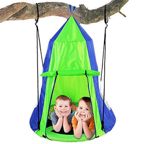 SereneLife Kids Hanging Chair Tent Swing - Hammock Nest Pod Hanging Swing Chairs Bedrooms/Outdoor Tree/Swing Set - Outdoor Indoor Bedroom Sensory Swing w/Detachable Hangout Play Tent SLSWNG350