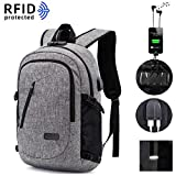 KEYNEW Anti-Theft Smart Business Waterproof Laptop Backpack for Men with USB Charging Port/RFID