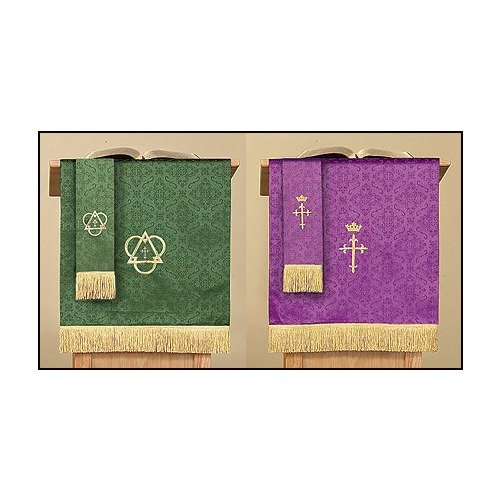 Reversible Purple & Green Jacquard Pulpit Scarf with Cross