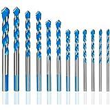 Kamenda Juego de 12 brocas para cristal y azulejos, 3/4/5/6/7/8/10 mm, aleación triangular, sierra...