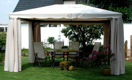 LECO Ersatzdach aus hochwertigem Polyester für den Pavillon Sahara in Naturton, 4 x 3 Meter, Garten Zubehör, Pavillondach, wetterfest, wasserabweisend imprägniert, natürliches zeitloses Design