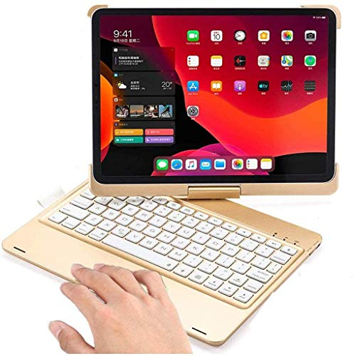 360 Rotatable iPad Air 4 2020 10.9 Inch Keyboard Case with Touchpad, Backlits Bluetooth Keyboard Flip Smart Cover for iPad Air 4th Generation 2020 (Gold-360 Rotate)