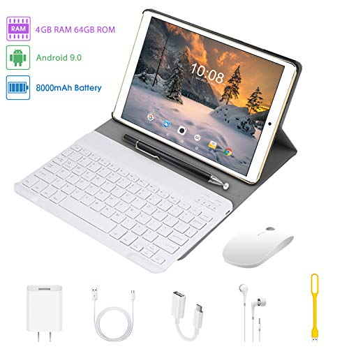 tablet 10 pollici 4G Tablet 10 Pollici con WIFI Offerte Android 9.0 Quad Core 4GB RAM 64GB ROM/Fino a 128GB 8000mAh WIFI Tablet 8Pcs DUODUOGO P8 Fotocamera 8MP 1920*1200 Dual SIM Bluetooth GPS OTG (P8 - Oro)